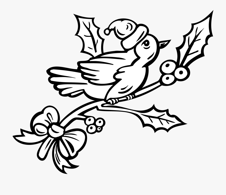 Holiday Girls Christmas Sheets Christmas Coloring Pages - Bird In The Tree Clipart Black And White, Transparent Clipart