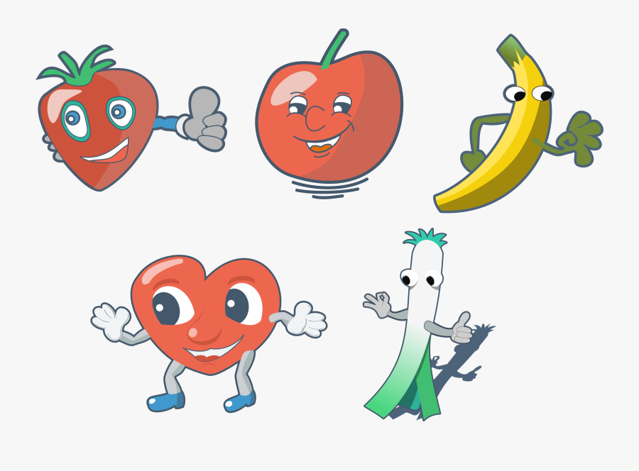 This Free Icons Png Design Of Fun Fruits - Cartoon Drawing Of Vegetables And Fruits, Transparent Clipart