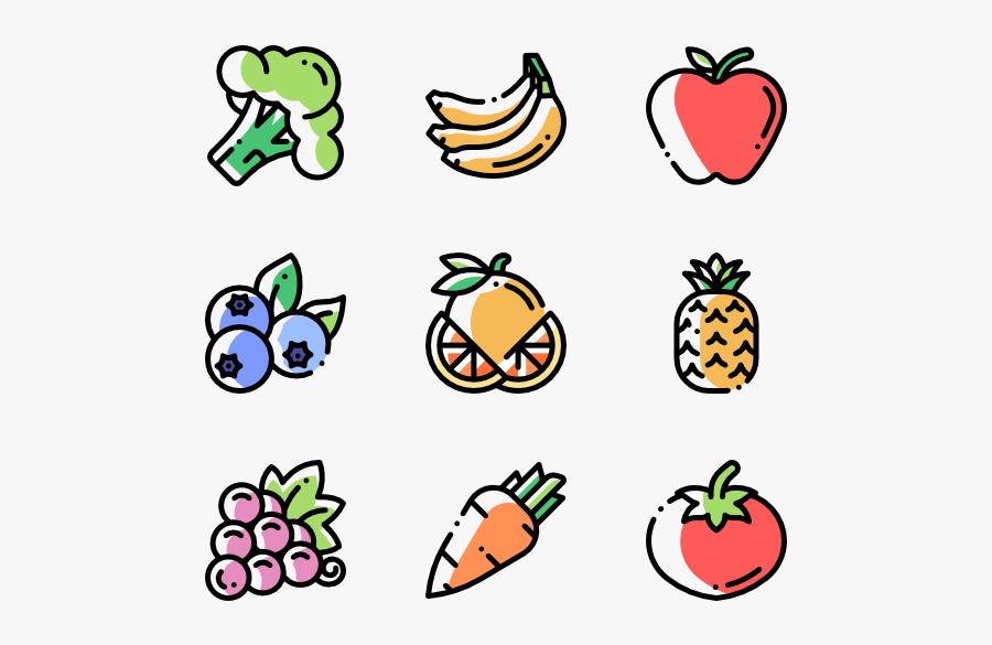Clip Group - Vegetables And Fruit Cartoon, Transparent Clipart