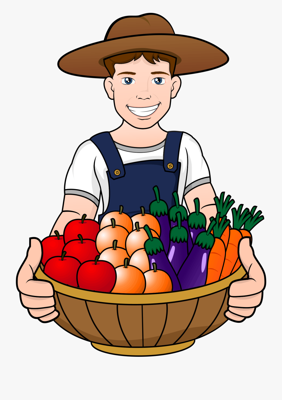 A Men Have Fruits And Vegetables In The Basket - Basket Fruits And Vegetables Clipart, Transparent Clipart