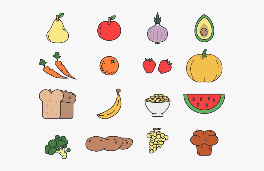 Transparent Fruits And Vegetables Png - Vegetables Fruit Line Art Png, Transparent Clipart