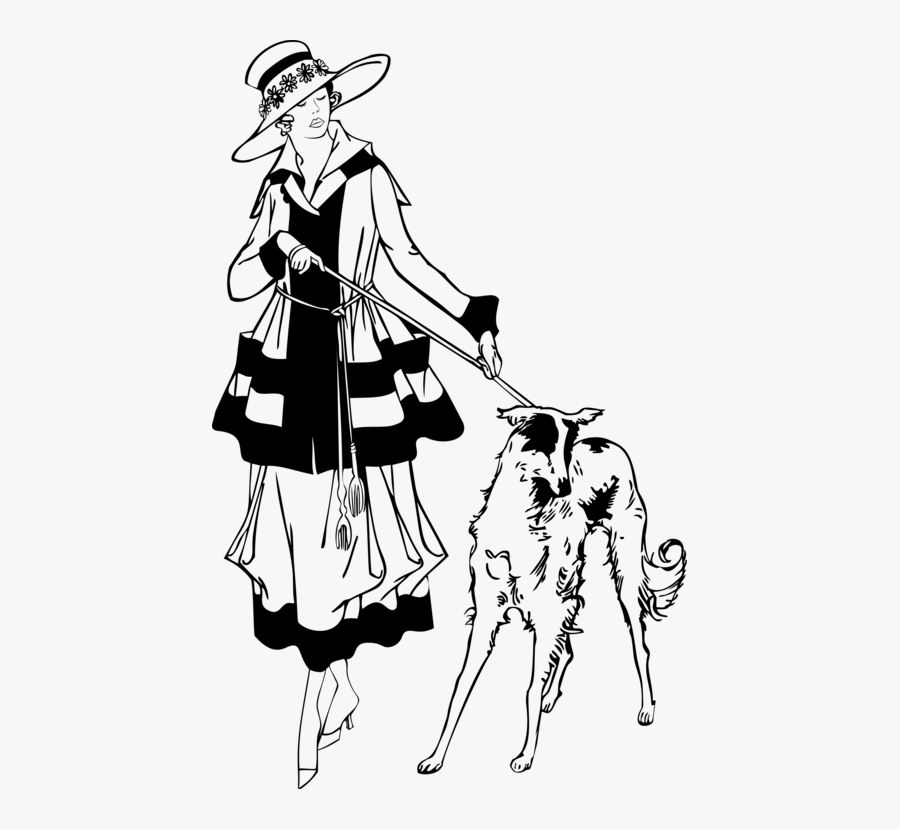 Art,monochrome Photography,gentleman - 1920s Woman Walking Dog, Transparent Clipart