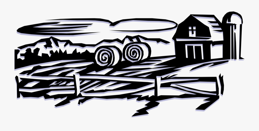 Vector Illustration Of Farm Scene With Barn And Grain, Transparent Clipart