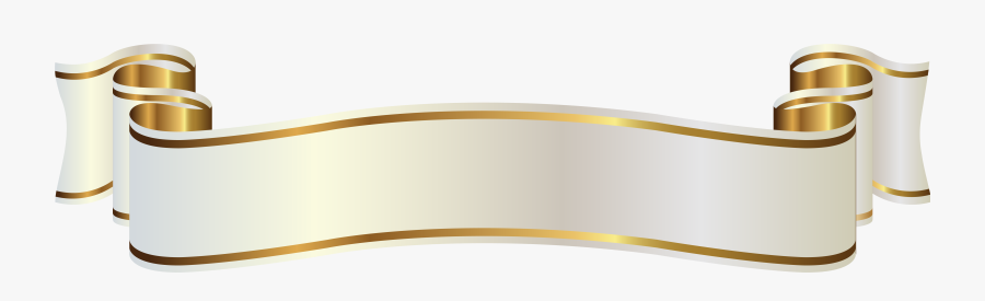Clip Art Banner Png Clipart Image - White And Gold Ribbons, Transparent Clipart