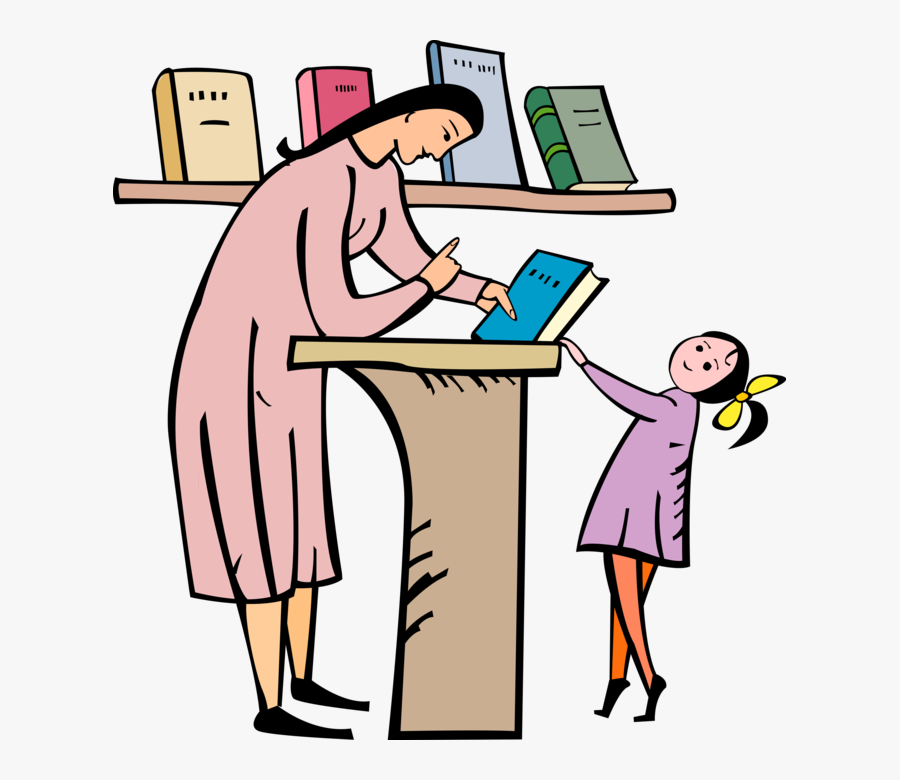 Vector Illustration Of Teacher Gives Library Book To - Teacher Gives Book To Student, Transparent Clipart