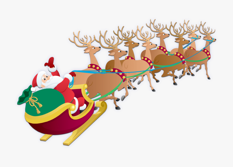 Transparent Reindeer Sleigh Png - Christmas Pictures Santa Sleigh, Transparent Clipart
