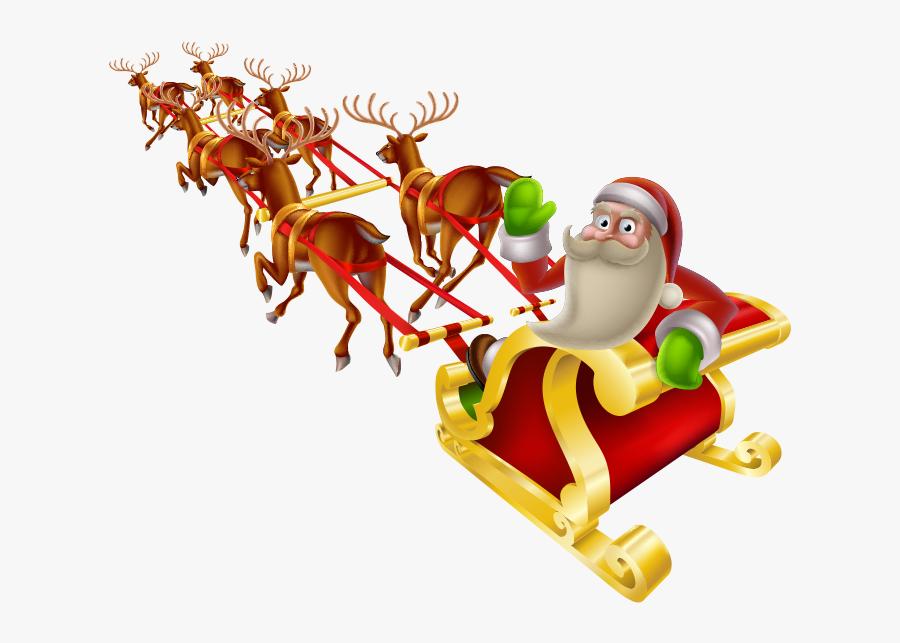 Transparent Santa Reindeer Png - Back Of Santas Sleigh, Transparent Clipart