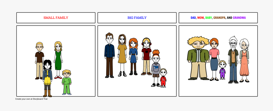 Big Family And Small Family, Transparent Clipart
