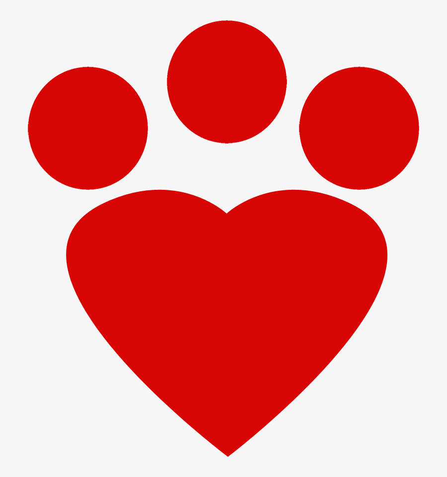 Red Heart Paw Print - Cat Footprint Icon Red Png, Transparent Clipart