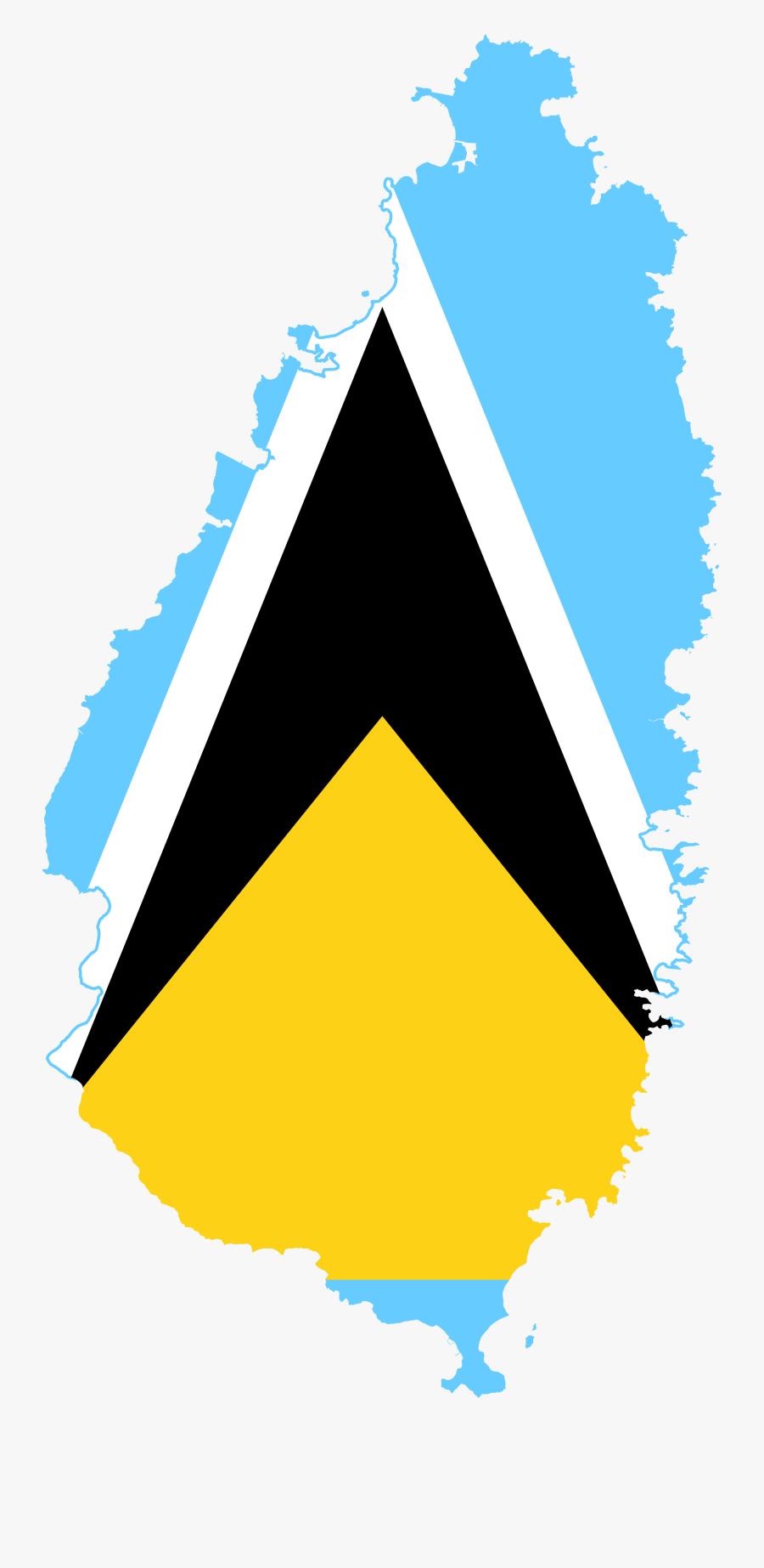Clip Art Saint Lucia Picture - St Lucia Flag In Map, Transparent Clipart