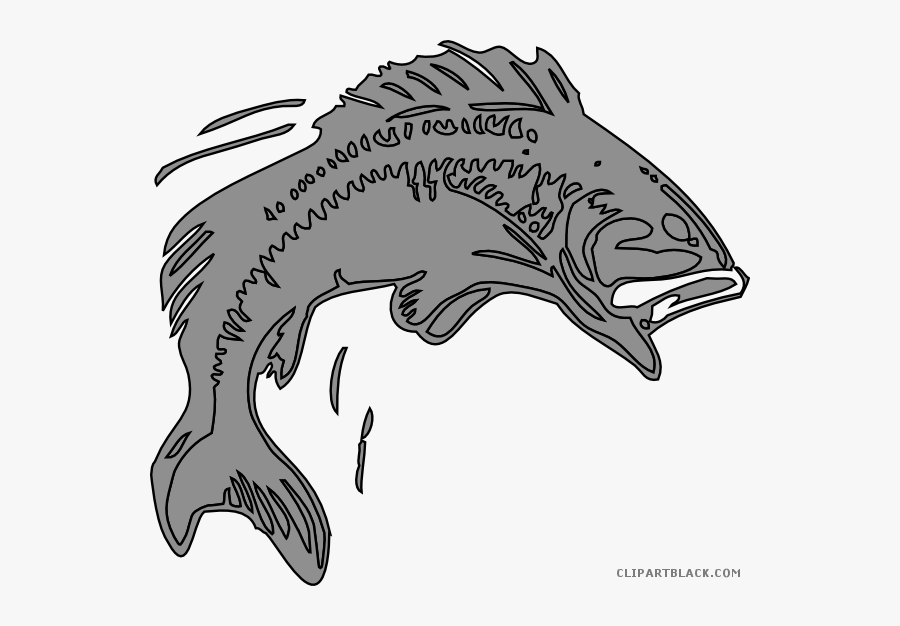 Salmon Clipart Bangus - Bass Jumping Out From Water Outline, Transparent Clipart
