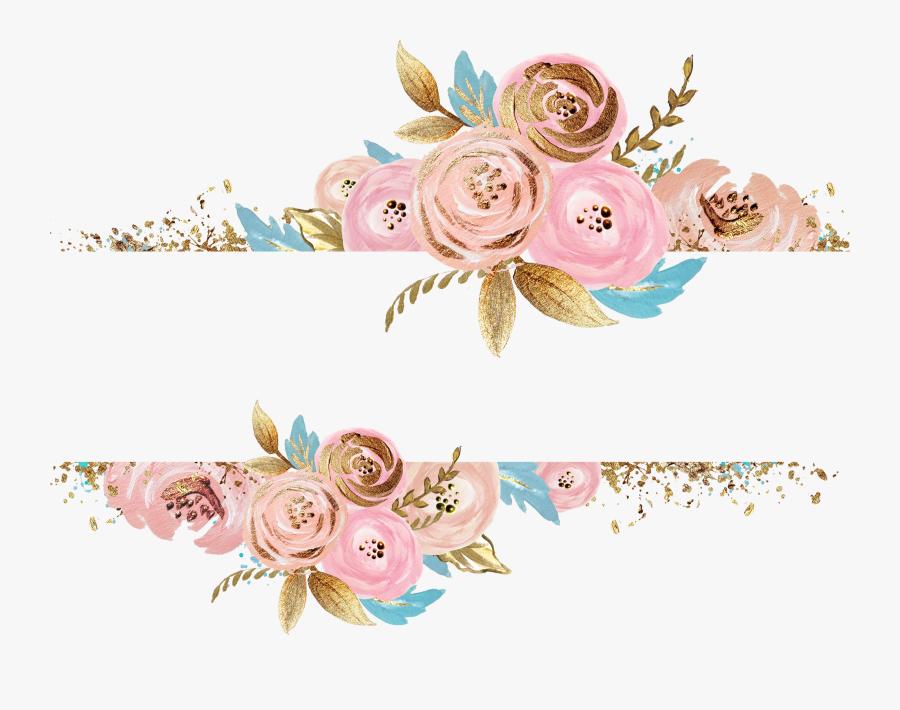 #flowers #gold #pink #divider #header #textline #line - Rose Gold Flower Png, Transparent Clipart