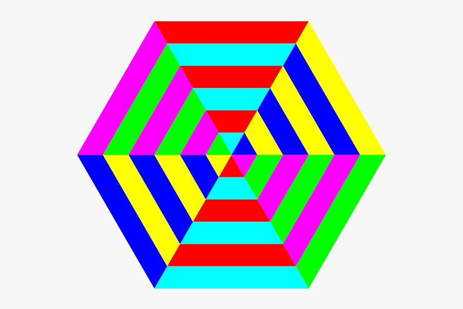 Hexgon Triangle Stripes Clipart Png Transparent Png - Rainbow In Hexagon Shape, Transparent Clipart