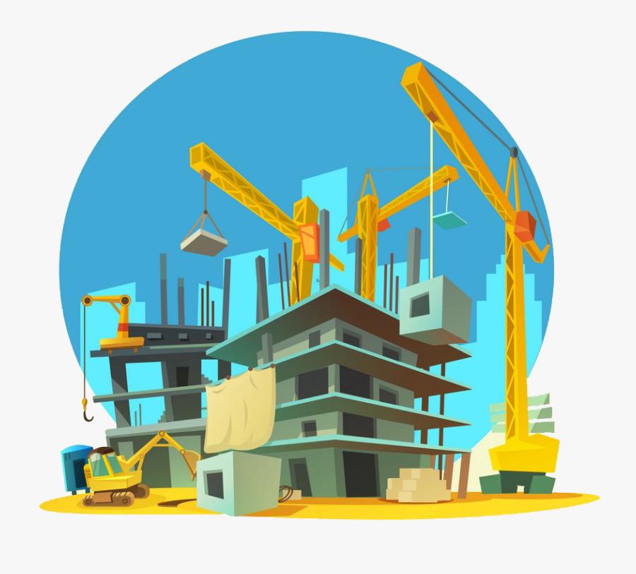 Crane Clipart Construction Site - Construction Cartoon Building Png, Transparent Clipart