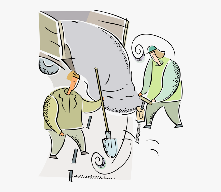 Work Crew With Jackhammer - Street Construction Vector Png, Transparent Clipart
