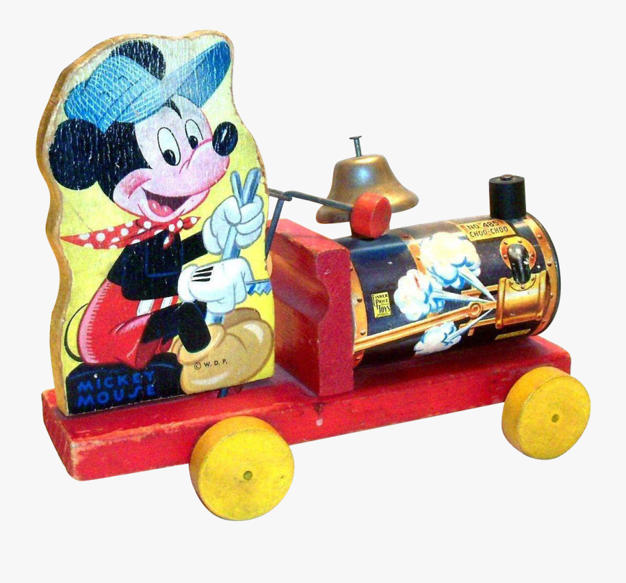 Clip Art Vintage Mickey Mouse Choo - Vintage 1950 Mickey Mouse Pull Toy, Transparent Clipart