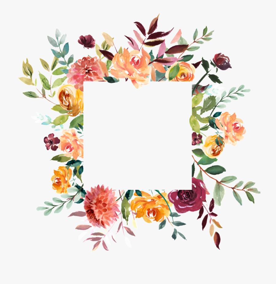 Square Wedding Invite Floral Clipart , Png Download - Square Floral Frame Png, Transparent Clipart