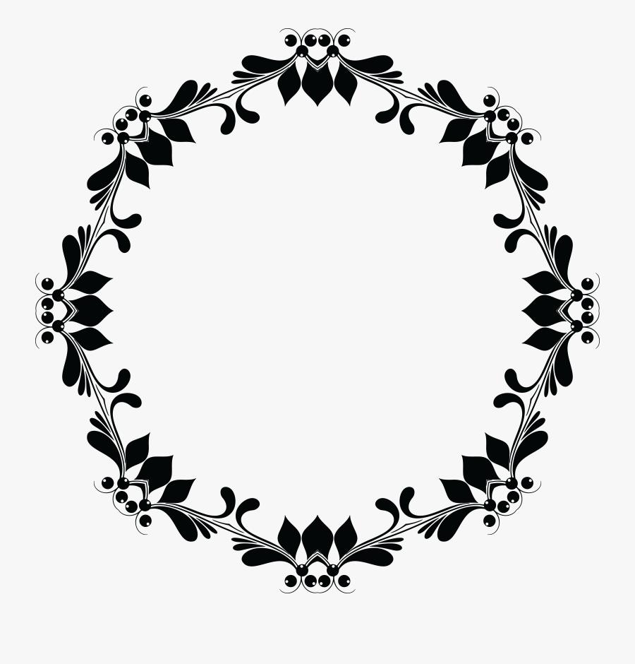 Transparent Floral Clipart - Black Floral Frame Png, Transparent Clipart