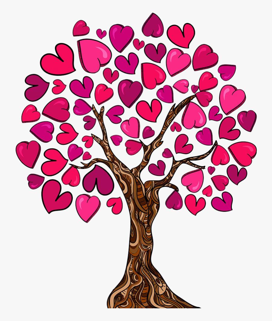Family Tree Heart Love Clip Art - Heart Family Tree Clipart, Transparent Clipart