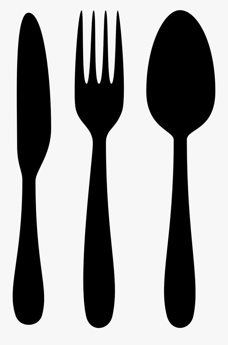 Chef Clipart Black And White - Spoon Fork Knife Silhouette, Transparent Clipart