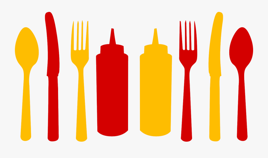 Bar, Ketchup, Cutlery, Spoon, Fork, Knife, Plastic, - Spoon And Fork Border, Transparent Clipart