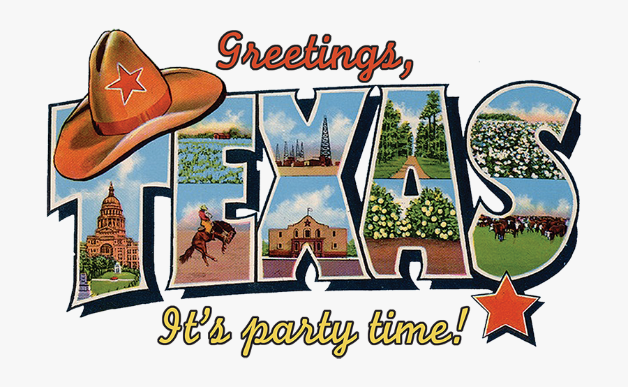 Texas Cliparts - Texas Map Greetings From Postcard, Transparent Clipart