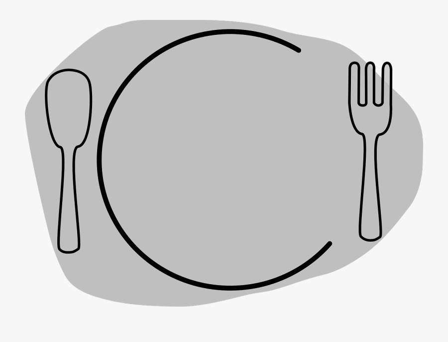 Dish Clipart Spoon Fork Plate - Plate Clip Art, Transparent Clipart