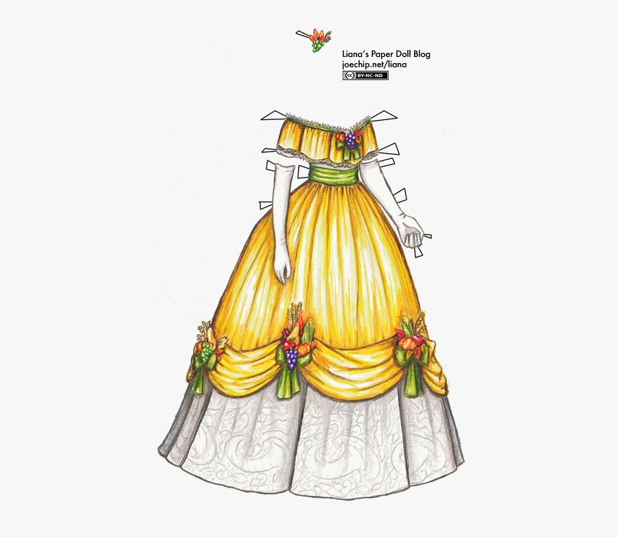 Ribbon Clipart Barbie - 1800's Paper Doll Dresses, Transparent Clipart
