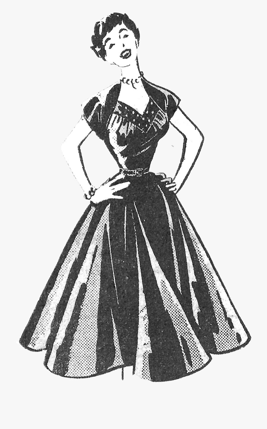Turkey Bathing Suit Clipart - Printable Vintage Inspired Dresses, Transparent Clipart