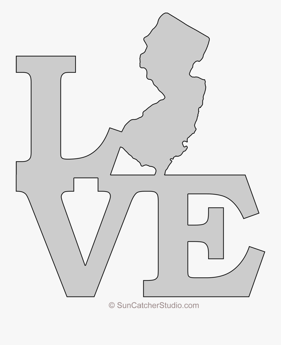 New Jersey Love Map Outline Scroll Saw Pattern Shape - Map Texas No Background, Transparent Clipart