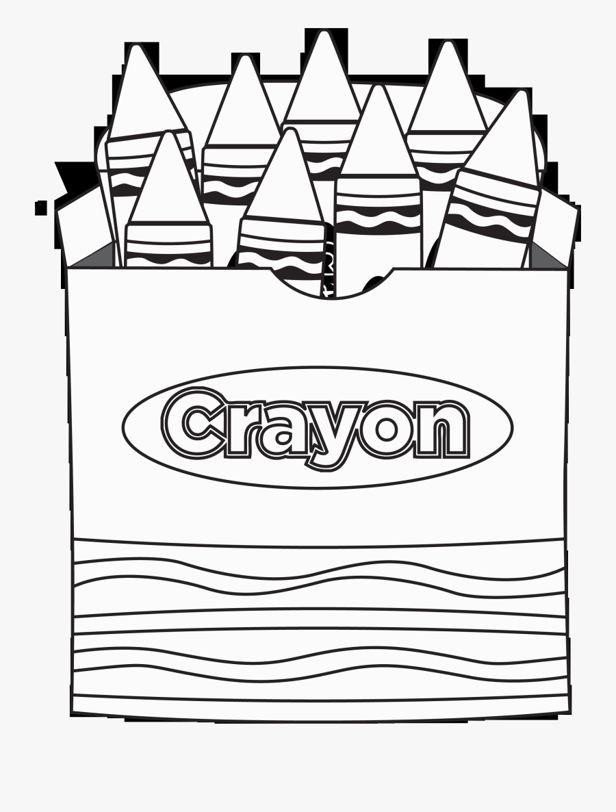 Gray Crayon Box Clip Art Clipartion For Coloring Book - Crayon Box Clipart Black And White, Transparent Clipart