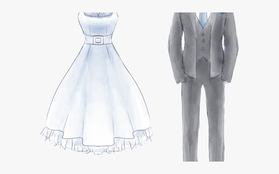 Transparent Wedding Dress Clipart Png - Attire For Wedding Invitation Watercolor, Transparent Clipart