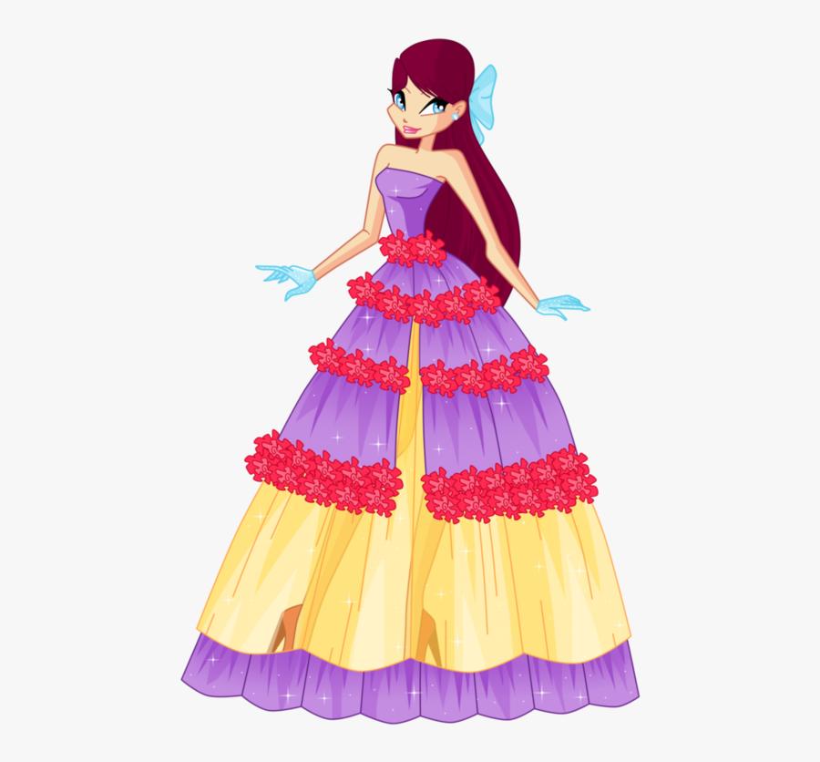 Merula Flower Princess Ball Gown - Winx Club Tine Ball Dress, Transparent Clipart