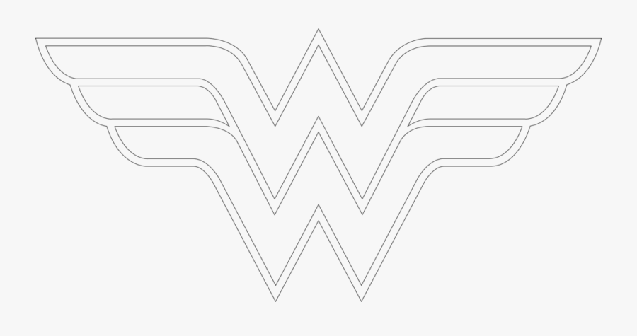 How To Draw Wonder Woman Logo Outline - Line Art, Transparent Clipart