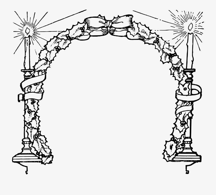 Christmas Candles Clipart Black And White - Free Black And White Clipart Christmas Candle Border, Transparent Clipart