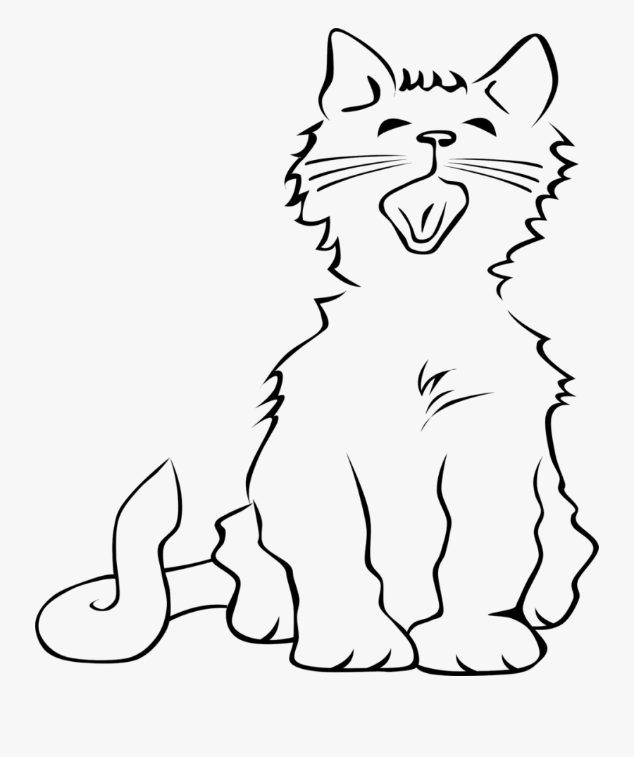 48 Best Cute Cat Clip Art Images Black And White Clip - Cat Meowing Clipart Black And White, Transparent Clipart