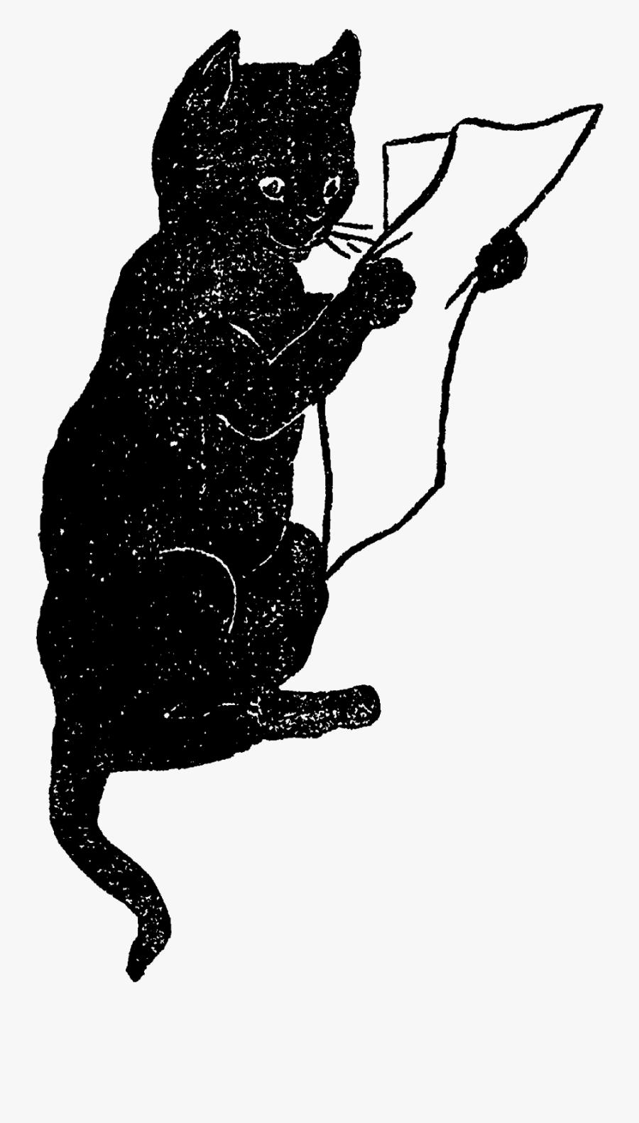 Black Cat Antique Illustration Funny Animal Clipart - Funny Cat Illustration Png, Transparent Clipart