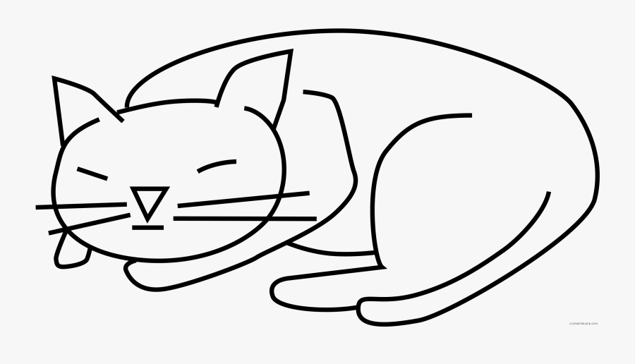 Sleeping Cat Clipart Black And White - Sleeping Cat Cartoon Drawing, Transparent Clipart
