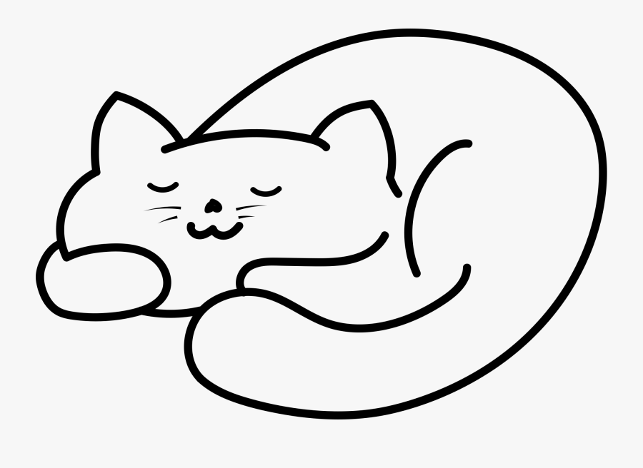 Transparent Sleeping Cat Clipart - Sleeping Cat Clipart Black And White, Transparent Clipart