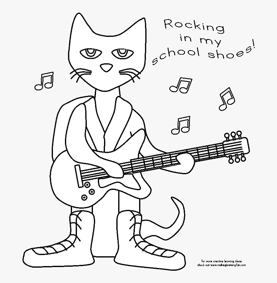 Pete The Cat Clipart Black And White Transparent Png - Pete The Cat School Coloring Page, Transparent Clipart