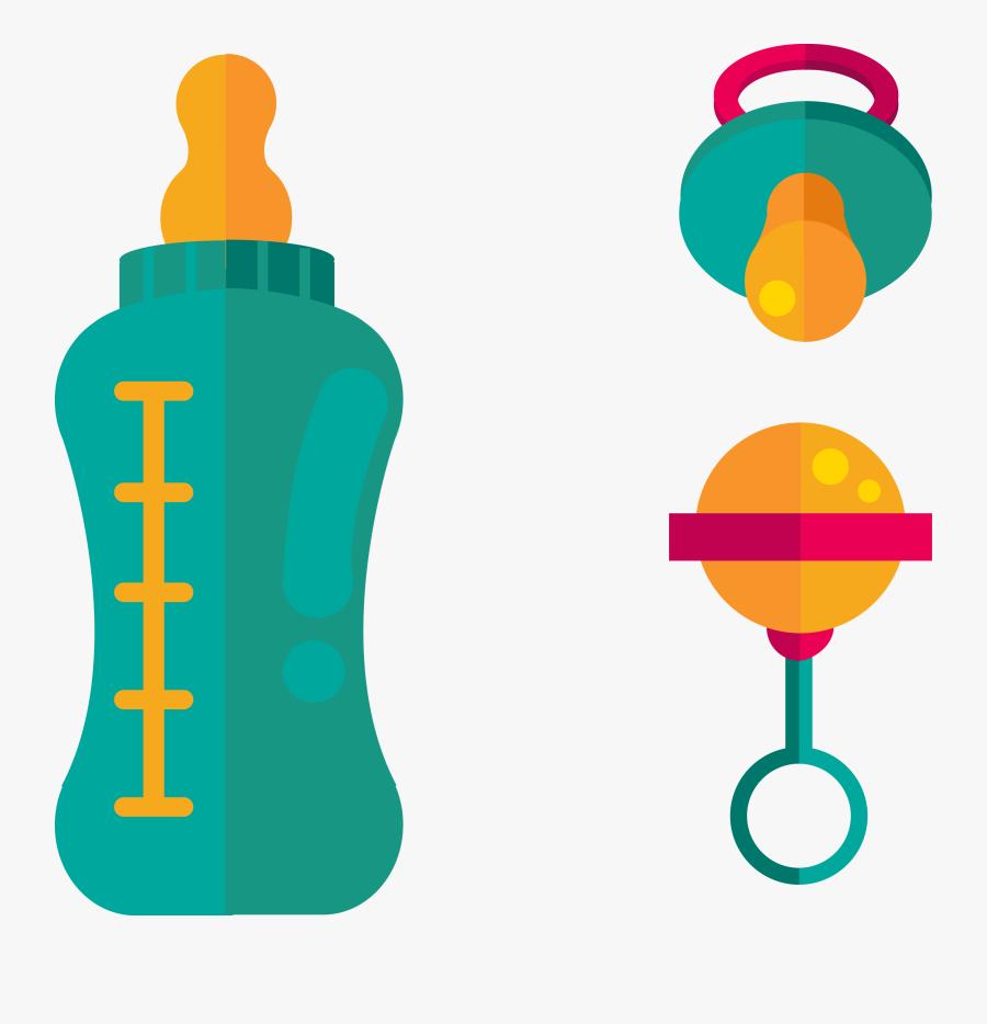 Infant Baby Bottle Pacifier Euclidean Vector - Pacifier Baby Bottle Vector, Transparent Clipart
