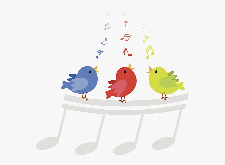 Bird Singing Clipart Transparent Png - Birds Singing Musical Notes, Transparent Clipart