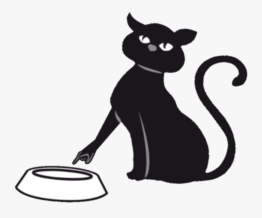 Neko Empty Yum Cute Sweet Kittylove Kitty Food Kitten - Black Cat Silhouette, Transparent Clipart