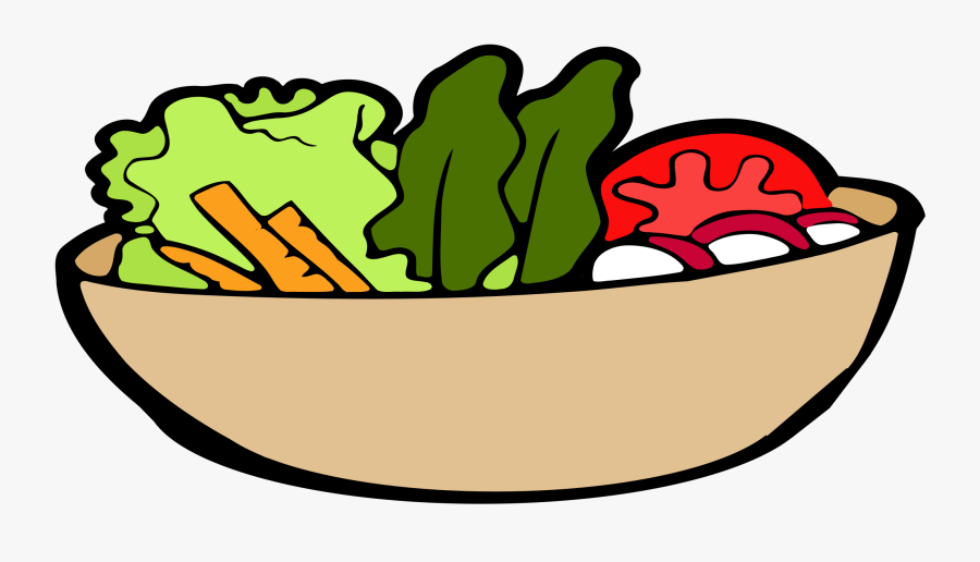 Lettuce Clipart Face - Bowl Of Salad Drawing, Transparent Clipart