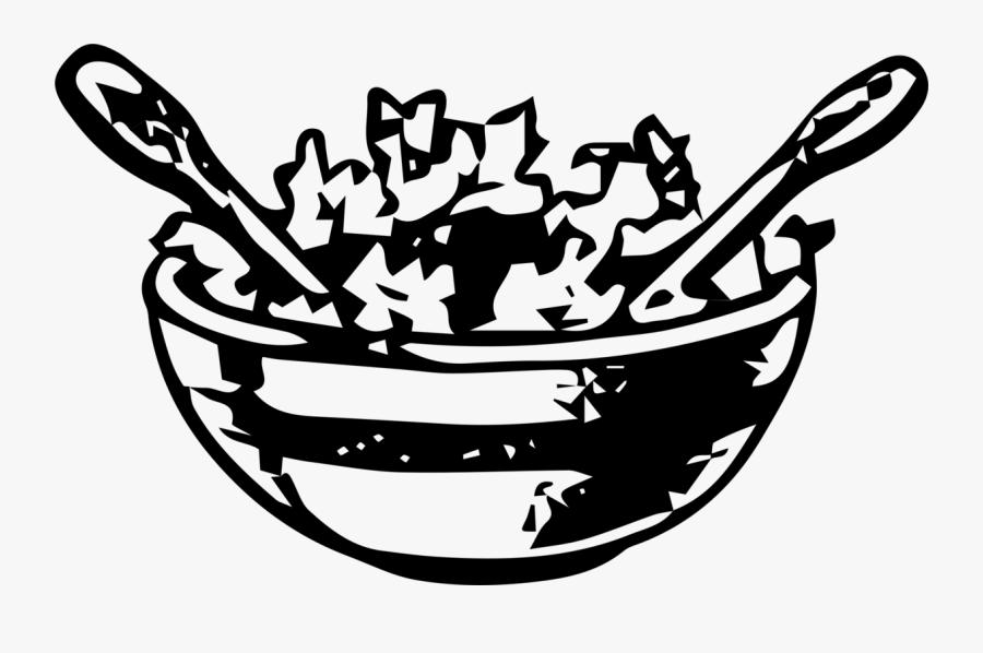 Salad Bowl - Salad Clipart Black And White, Transparent Clipart