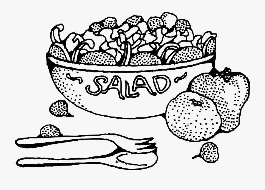 Cartoon Salad Clipart Vegetable Clip Art - Salad Black And White, Transparent Clipart