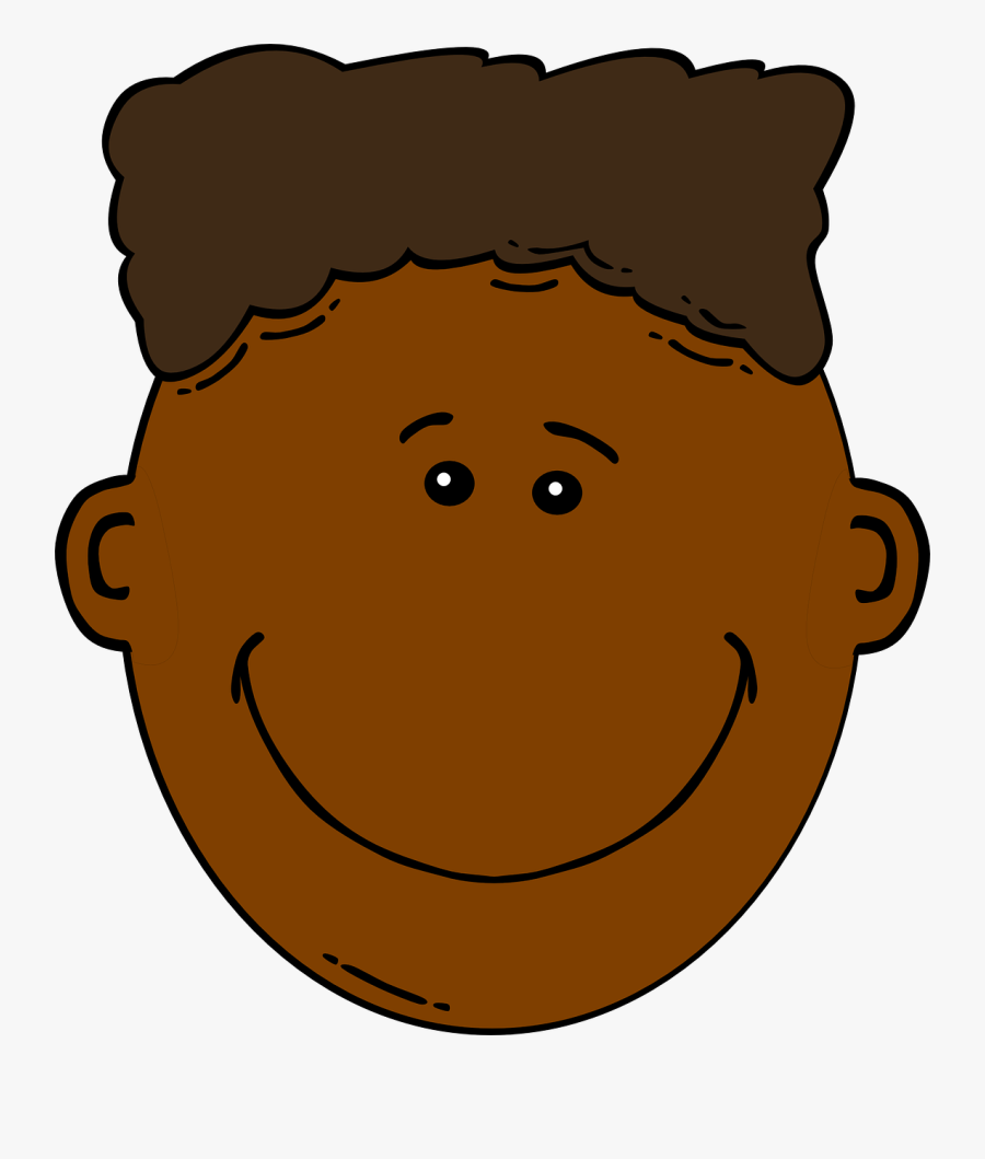 Boy, Dark Skin, Brown Hair, Happy Face, Smile - African American Boy Clipart, Transparent Clipart