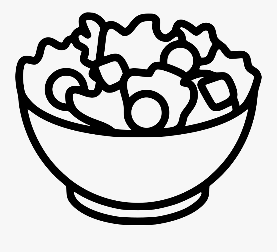 Black And White Clipart Salad - Salad Bowl Clipart Black And White, Transparent Clipart