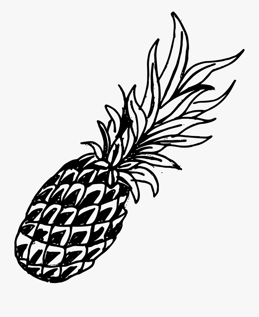 Blue Drawing Pineapple Transparent Png Clipart Free - Pineapple Drawing Black And White, Transparent Clipart
