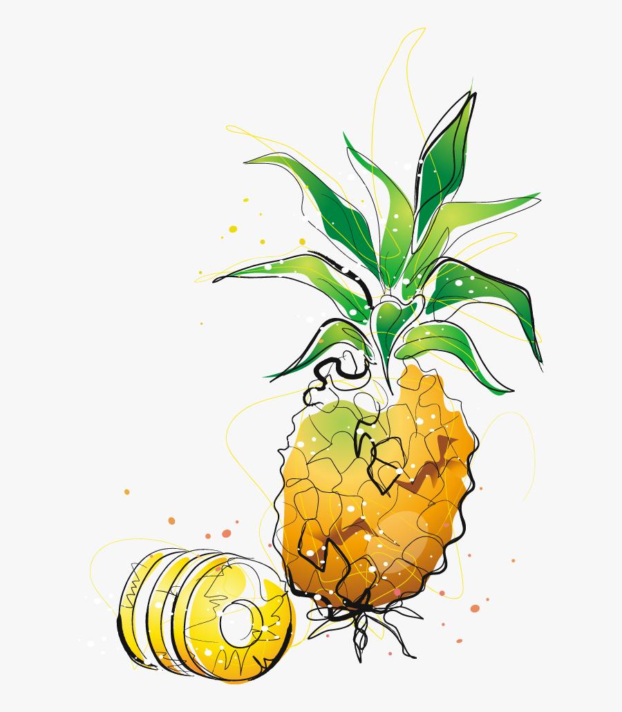 Pineapple Cartoon Drawing Clip Art - Watercolor Painting, Transparent Clipart